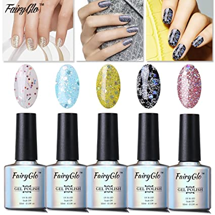 FairyGlo - Set de 5 esmaltes de uñas de gel UV con brillo para