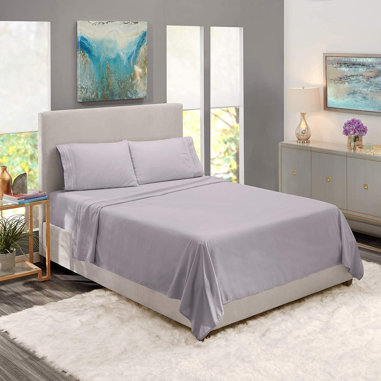 Clara Clark 4pc Bed Sheet Set King Queen with Set of 4 Adjustable Straps