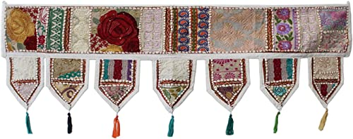 Indian Handmade Traditional Embroidered Toran Cotton Thoranam Door Living Room Decor Bandanwar Home Valance Decorations Window Hanging Bohemian Wall Ethnic Decorative Vintage Off White 1 Meter
