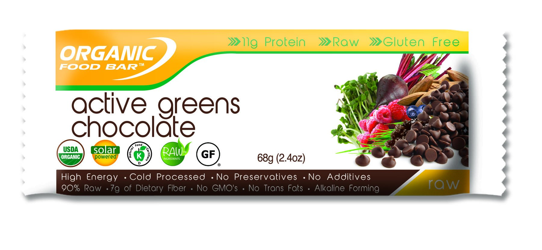 Organic Food Bar - Active Greens Chocolate Bars, USDA Organic Active Greens Bar with Superfood Blend with Powerful Antioxidants (Pack of 12, 2.3 oz) by Organic Food Bar