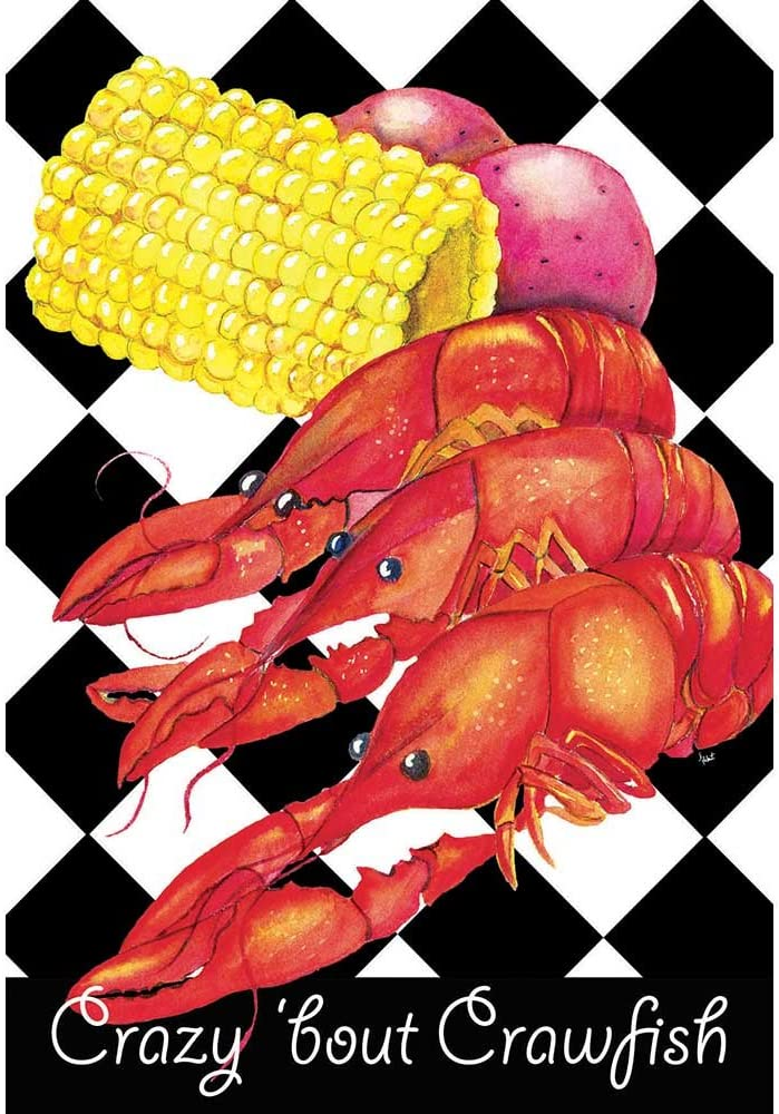 Magnolia Garden Crazy Bout Crawfish Dinner Checkerboard 44 x 30 Rectangular Screenprint Large House Flag