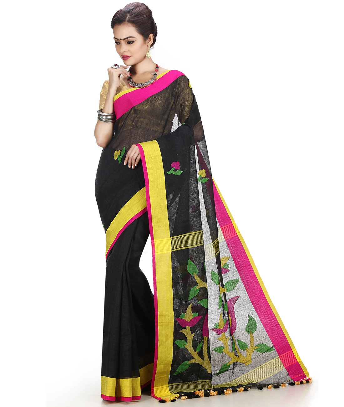 Maahir Garments Exclusive Indian Ethnicwear Linen Black coloured Handloom Saree