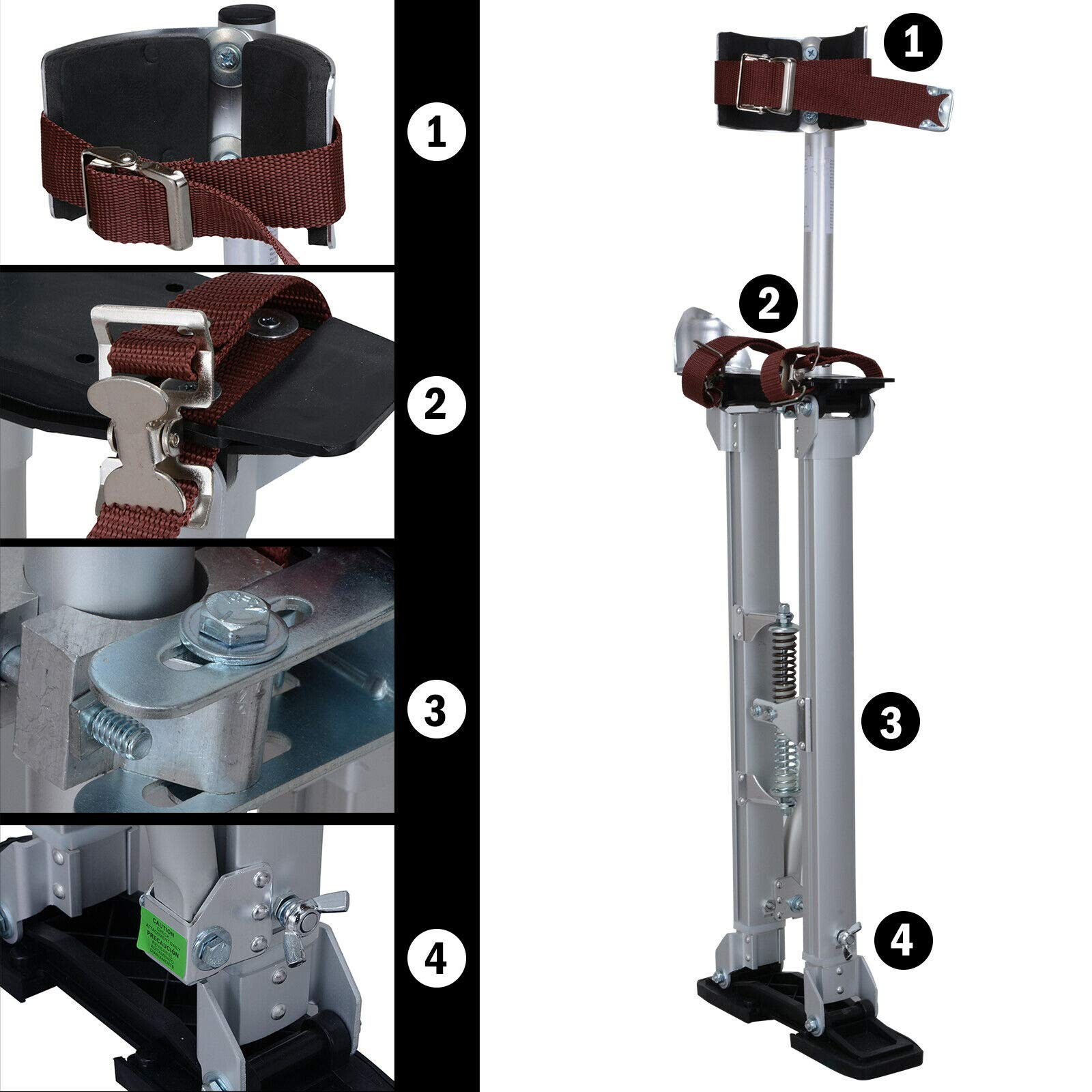 Drywall Stilts 24-40 Inch Aluminum Tool Painters Walking Painting Taping Silver
