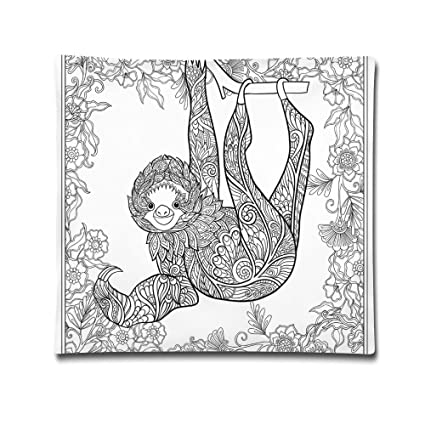 Amazoncom Isjiqnsq Unisex Outline Drawing Of Sloth In Jungle Zoo