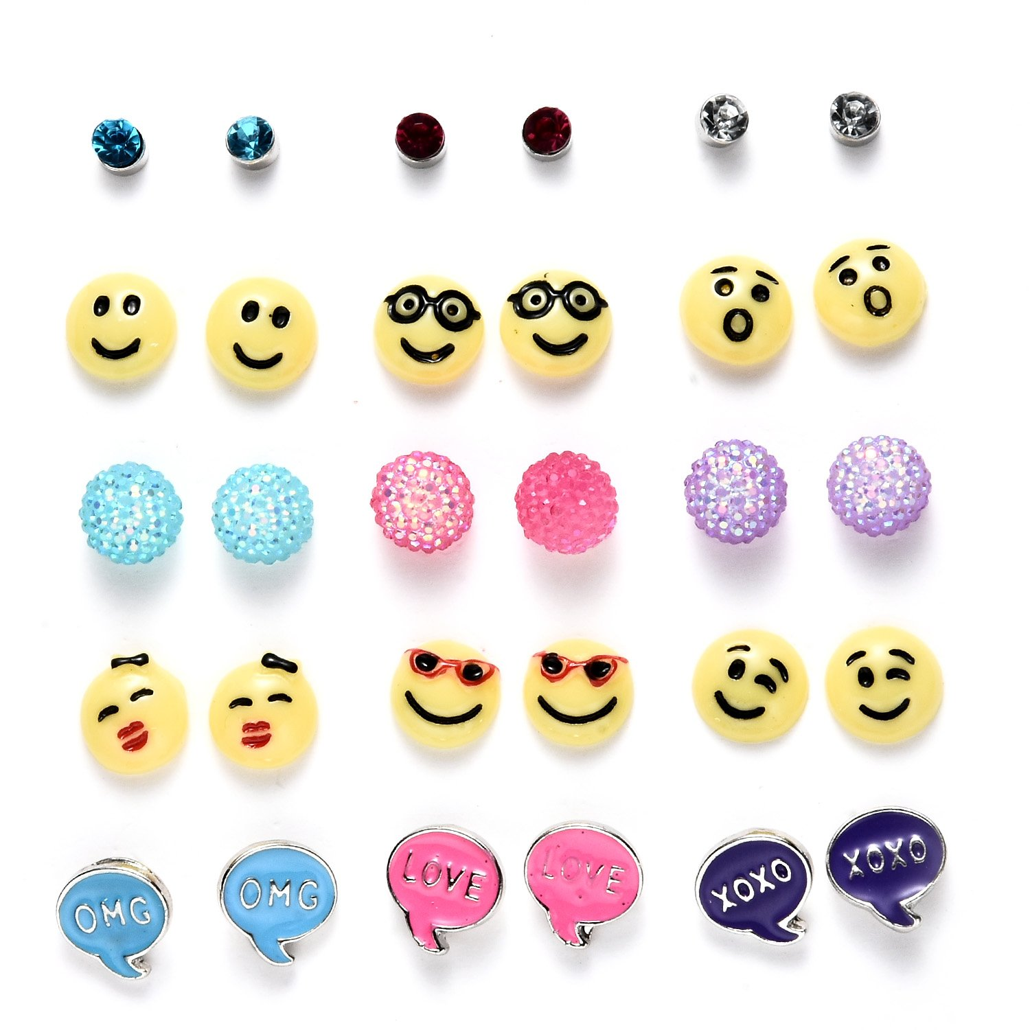 15 Pairs Hypoallergenic Cute Amusing Smiley Emoticon Stud Earrings Set for Girls