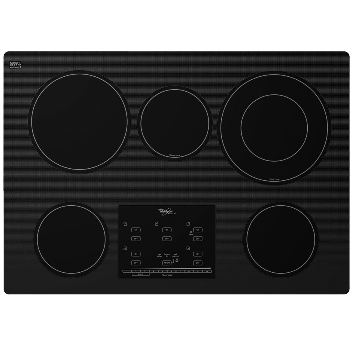 Whirlpool Gold G9CE3065XB 30 Smoothtop Electric Cooktop, 5 Elements, Tap Touch Controls, Black