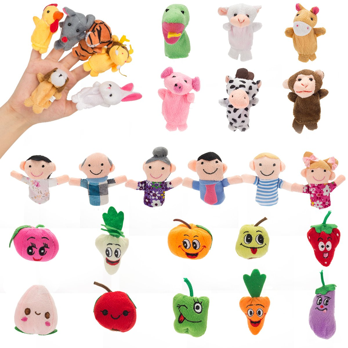 Biubee 28 PCS Finger Puppets Animal family Fruit Toys for Toddlers Kids Adults - 12 Farm Animals + 6 Family Members + 10 Fruits for Story Telling, Role Play, Great Novelty Educational Toys Set