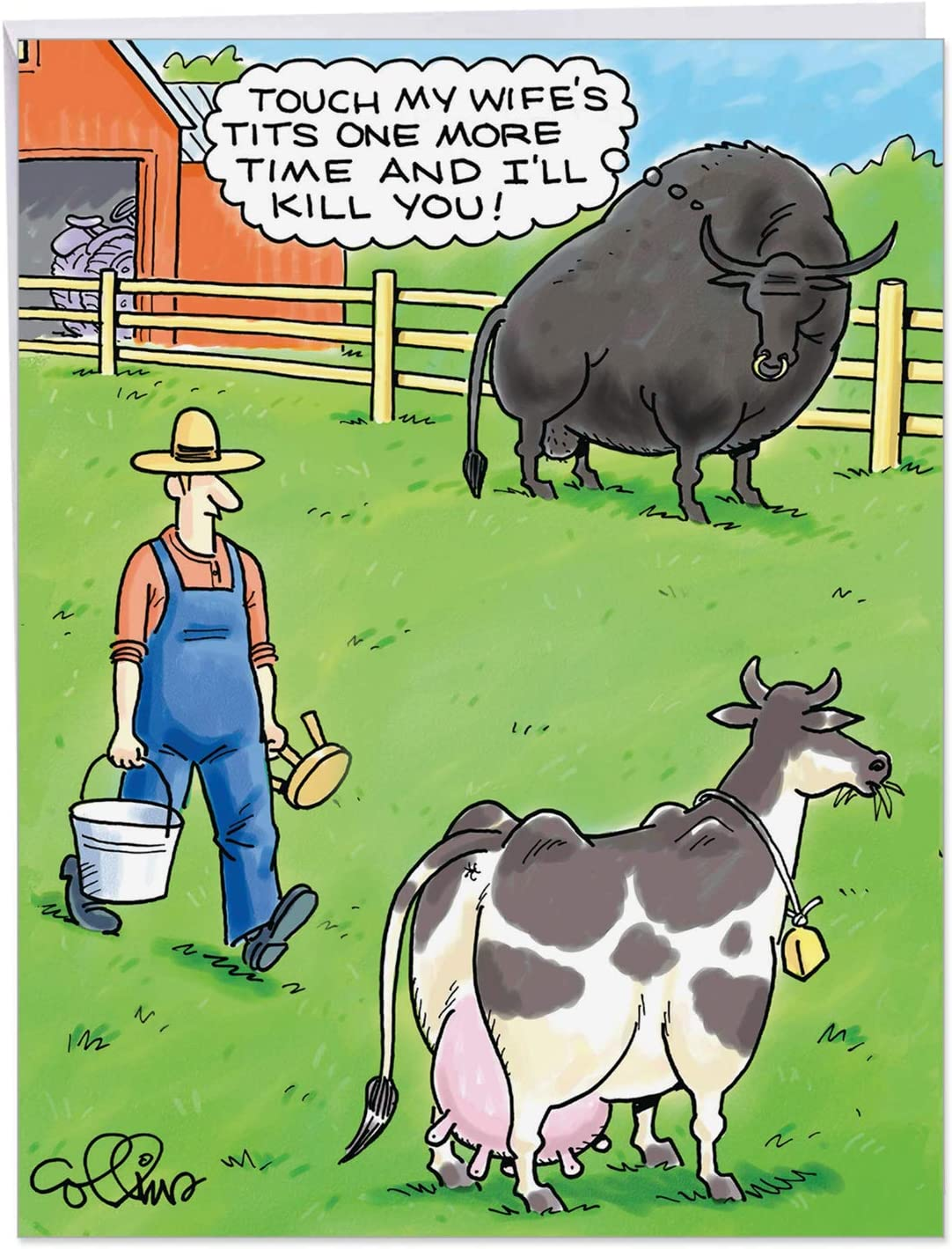 """8.8 x 8"""" Jumbo Happy Birthday Card - Hilarious Greeting Card Jealous Bull  Cows and Farmer - Funny Appreciation Cards On This Special HBD (Extra"""