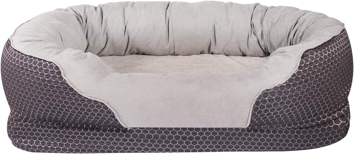 AsFrost パディングリムクッションと滑り止め底と犬 ベッド 整形外科犬 ベッドに溝整形外科-とぴったり寝台を溝 Lサイズ - 38 '' ×30 '' 濃ネイビーブルー