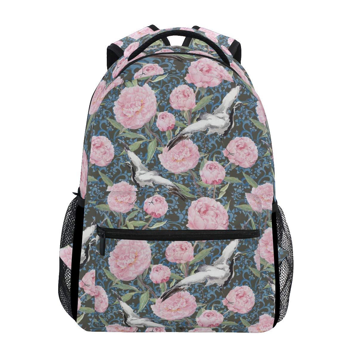 Sac d'école Backpacks Crane Birds Peony Flowers Bookbags Bag for Girls Kids Elementary