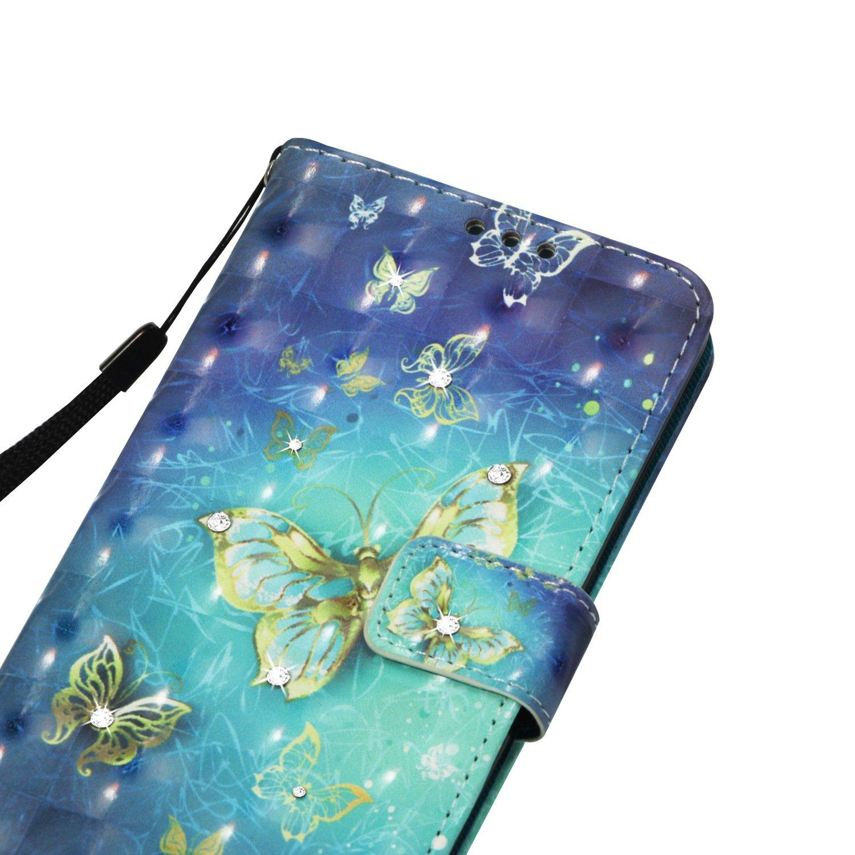 Fleur Bleu Wallet Glitter Cr/éatif Magn/étique Housse pour Xiaomi Redmi 5 Coque pour Redmi 5 Bookstyle Color/é Etui Misteem Luxe Paillettes Strass Diamant Dessin