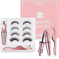 Magnetic Eyelashes with Eyeliner, Reusable Waterproof Magnetic Eyelashes and Eyeliner, 3D Natural Magnetic Eyelashes…