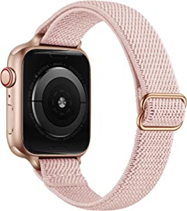 SICCIDEN Slim Stretchy Solo Loop Bands Compatible with Apple Watch Band 40mm 38mm 44mm 42mm, Women Elastics Nylon Thin Band Strap for iWatch SE Series 6 5 4 3 2 1 (Pink Sand/Rose Gold, 40mm 38mm)
