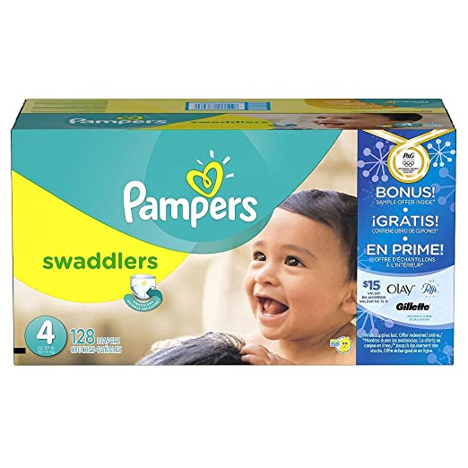 9c882672bac Amazon.com  Pampers Swaddlers Diapers Super Economy Pack with Bonus Sample  Offer (Size 4 - 128 Count)  Health   Personal Care