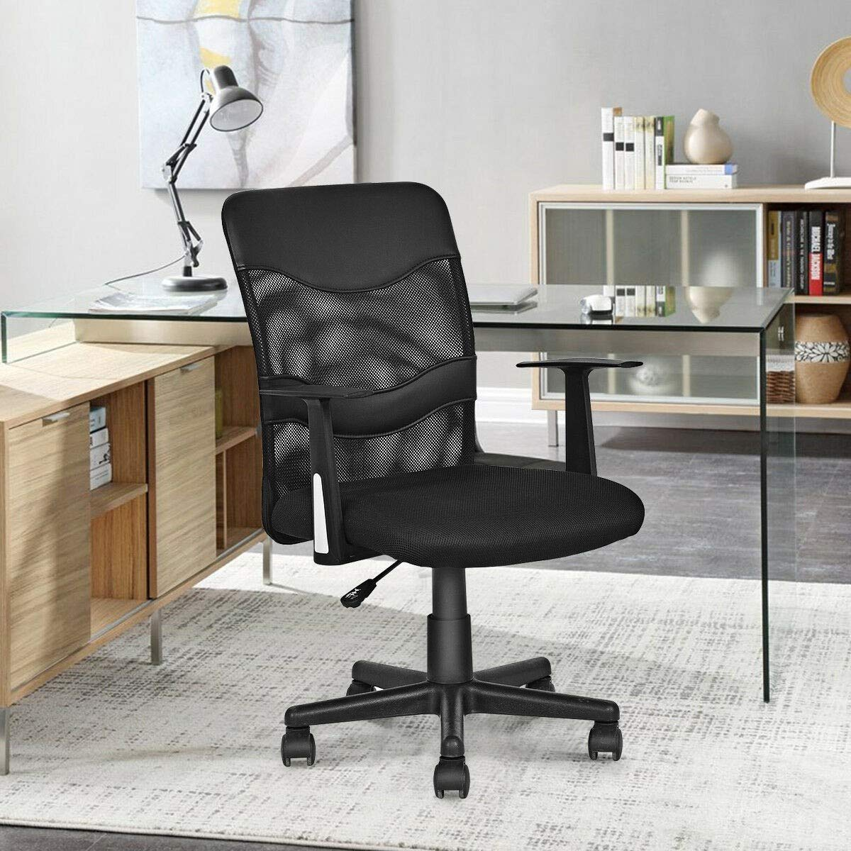 Managerial Chair 5 Caster Wheel 360 Degree Swivel Backrest Armrest Breathable Back Airflow Guest Reception Drafting Game Home Office Recreation Room Computer Workstation Sturdy Capacity 264 Pound