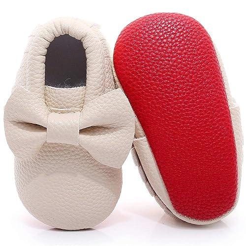 online retailer 8cc02 50c1d Bebila Double Bow Baby Moccasins - Soft Sole Baby Shoes Fringe Girls Shoes  Mary Jane Flats