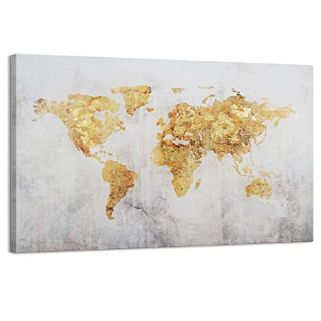 Kas Home Art Vintage Large Gold Foil World Map Wall Art Painting Pictures Print on Canvas Art The Picture for Home Modern Decoration Office Wall Decor 32 x 48 Inch, B Framed