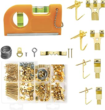 Picture Hanging Kit Hooks Nails Wire Level Decoration Painting Wall Hangers
