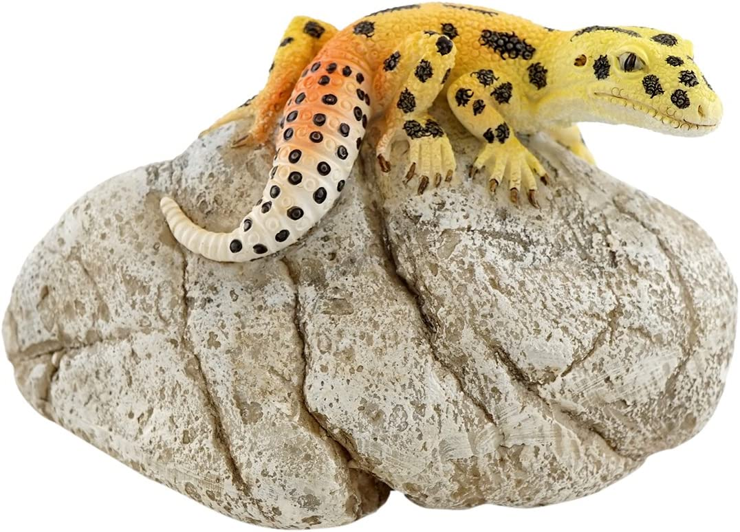 Top Collection Miniature Fairy Garden and Terrarium Leopard Gecko on Rock Statue