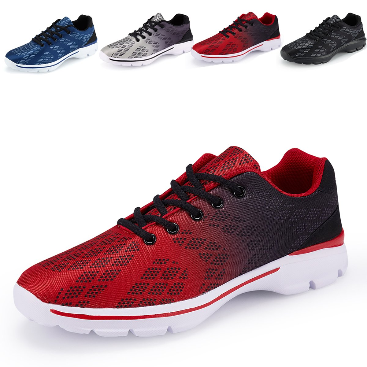 Men's Lightweight Breathable Running Tennis Sneakers Casual Walking Shoes (US 9/EU 42, Red) by Caitin