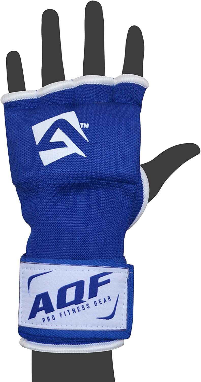 Blue /& Red AQF Boxing Inner Gloves Hand Wraps Fist Padded Bandages MMA Gel Strap Mitts Kick Black