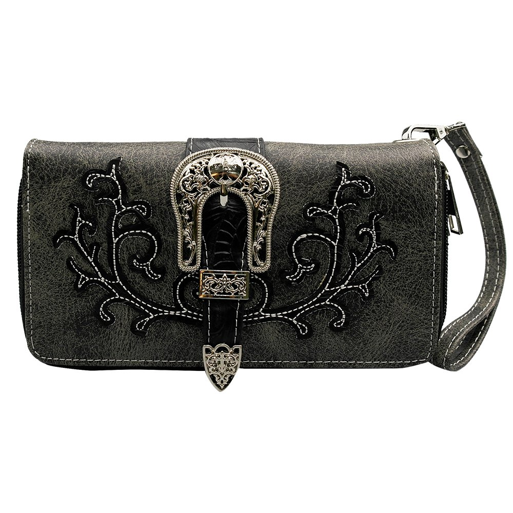 La Dearchuu Tooled Laser Cut Leather Floral Embroidery Western Wristlet Purse for Women(black)