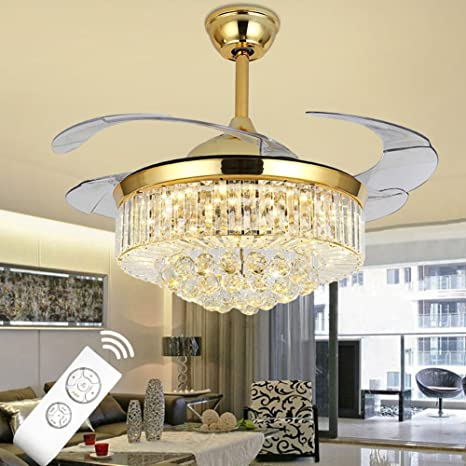 42-inch Remote-Controlled Fan Chandelier Luxury LED Crystal ...