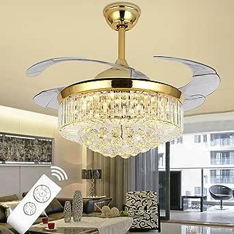 Lámpara de techo de cristal invisible con ventilador de techo, con ...