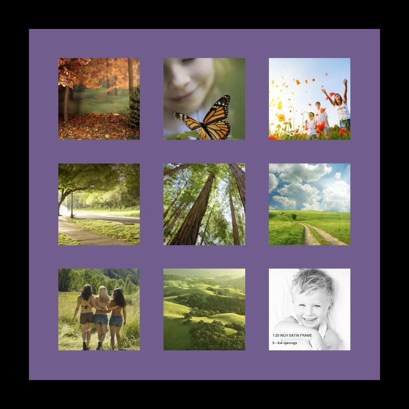 ArtToFrames アルファベット写真画像フレーム  5 x 7インチ開口部9つ サテンブラックフレーム Grape パープル Single-Multimat-2147-849-FRBW26079 B00IX2I15S Grape 9 - 4x4 - (2147) 9 - 4x4 - (2147) Grape