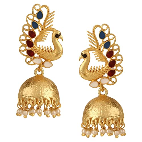 883e3d190 Amazon.com: Efulgenz Indian Bollywood 14K Gold Plated Crystal Kundan Pearl  Peacock Inspired Jhumka Jhumki Earrings Jewelry Set: Jewelry