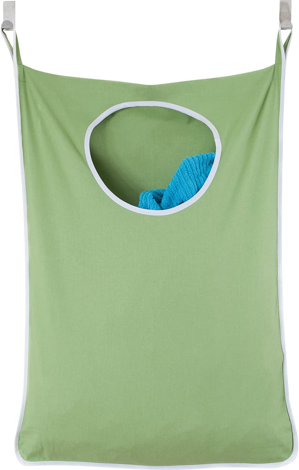 Urban Mom Door Hanging Laundry Hamper with Stainless Steel Hooks (Green)