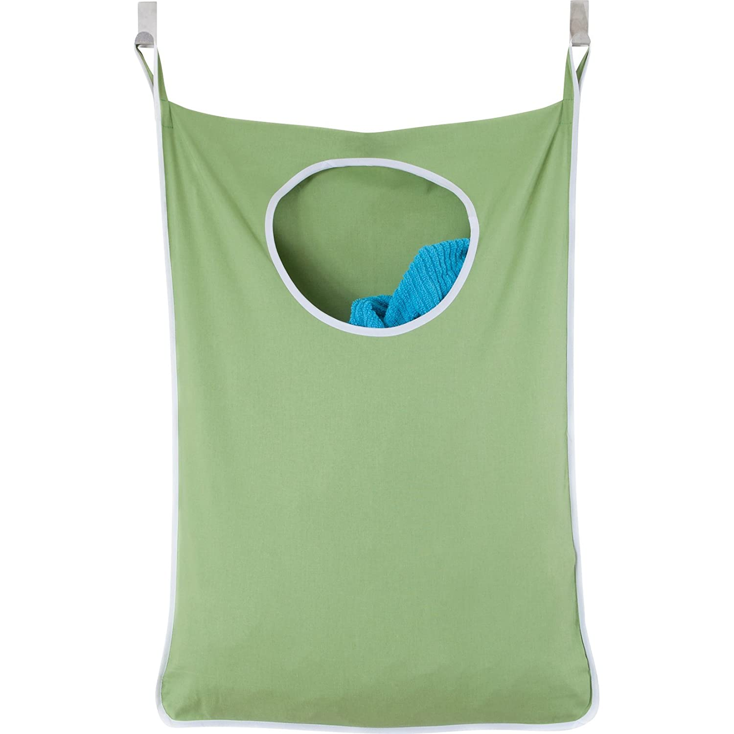 Laundry Nook Door Hanging Laundry Hamper With Stainless Steel Hooks (Green) by Urban Mom