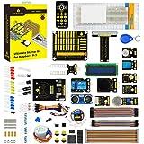 KEYESTUDIO Raspberry Pi 4 Ultimate Starter Kit with Stepper Motor, Ultrasonic Sensor, Learn Electronics and Programming, Solderless Breadboard for Raspberry Pi 4 Model B 3 2 B/B+/Arduino
