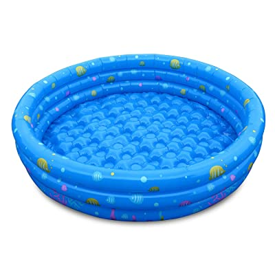 """TeqHome Kiddie Pool, 51"""" x 13"""" Inflatable Swimming Pool for Kids, Baby, Toddler Summer Blow Up Pool: Toys & Games"""