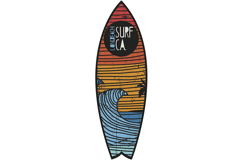 Figura Cartón Pluma Pared Tabla Shurf Long Beach Surf | Figura para paredes | Cartón Pluma Decorativo | Varias Medidas 140 x 42 cm | Decoración comedores, ...