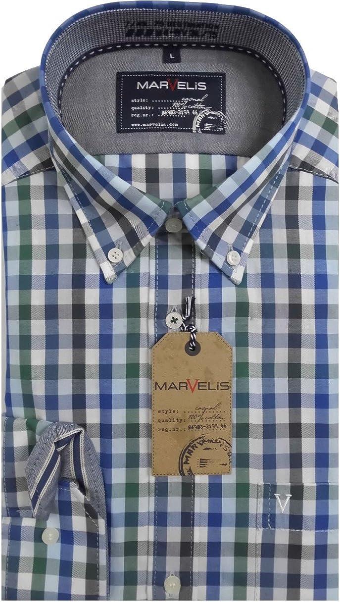 marvelis Camisa Camisa Hombre Casual manga larga Azul/Verde/Blanco Cuadros – 4608.64.49 multicolor 45/46: Amazon.es: Ropa y accesorios