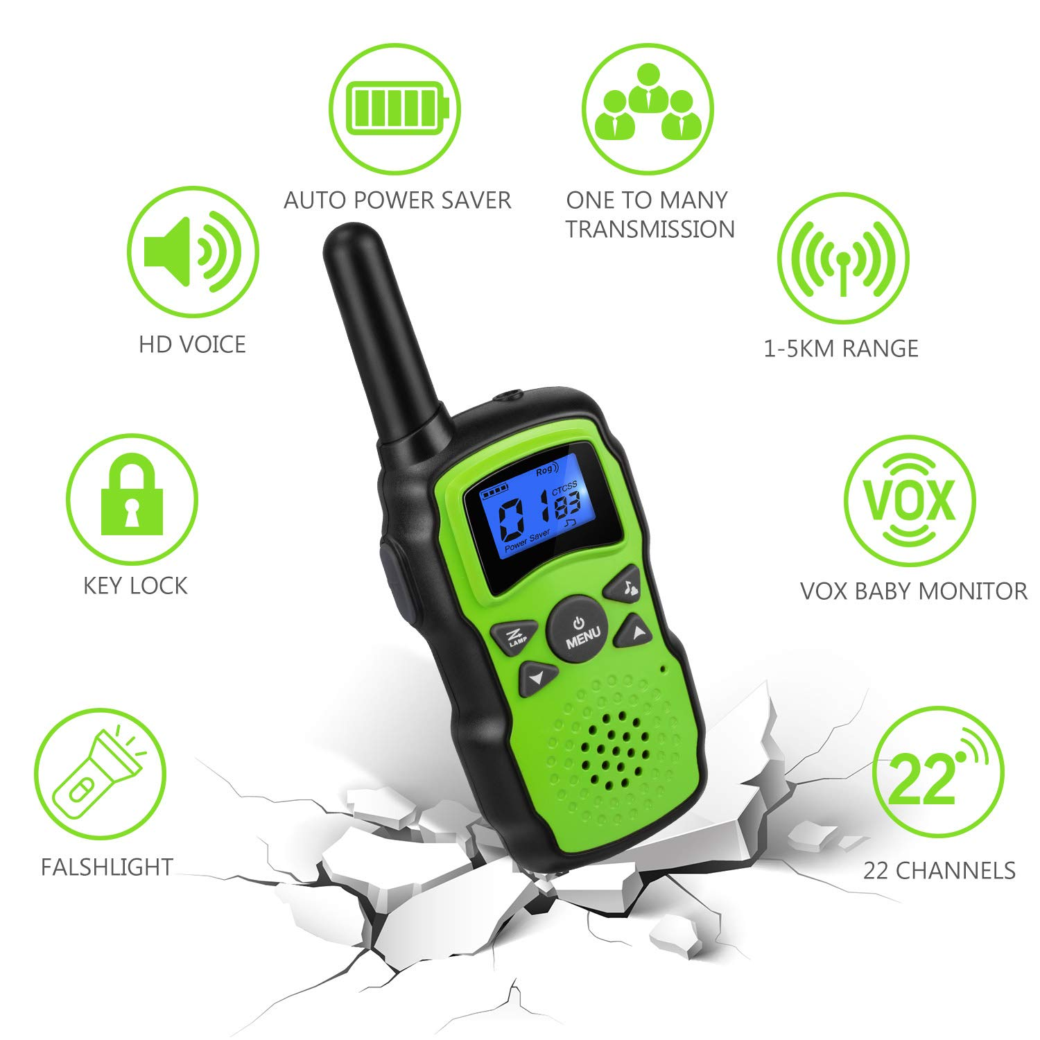 Wishouse 2 Rechargeable Walkie Talkies for Kids with Charger Battery, Two Way Radio Family Talkabout for Adult Cruise Ship Long Range, Outdoor Camping Hiking Fun Toy Birthday Gift for Girls Boys Green by Wishouse (Image #3)