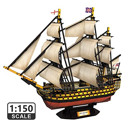 CubicFun 3D Puzzles Large HMS Victory Vessel Ship Sailboat Model Kits for Adults and Teens Toys, 189 Pieces, T4019h: Toys & Games