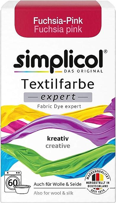 Simplicol Expert Fabric Dye Tinte de Coloración para Textiles: Lavado a Mano o Lavadora - Tiñe y Restaura Sus Telas y Ropa - Pink Rosado