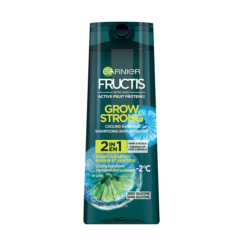 Garnier Fructis Grow Strong Cooling Shampoo, 2 in 1 Hair & Scalp, 250ml,