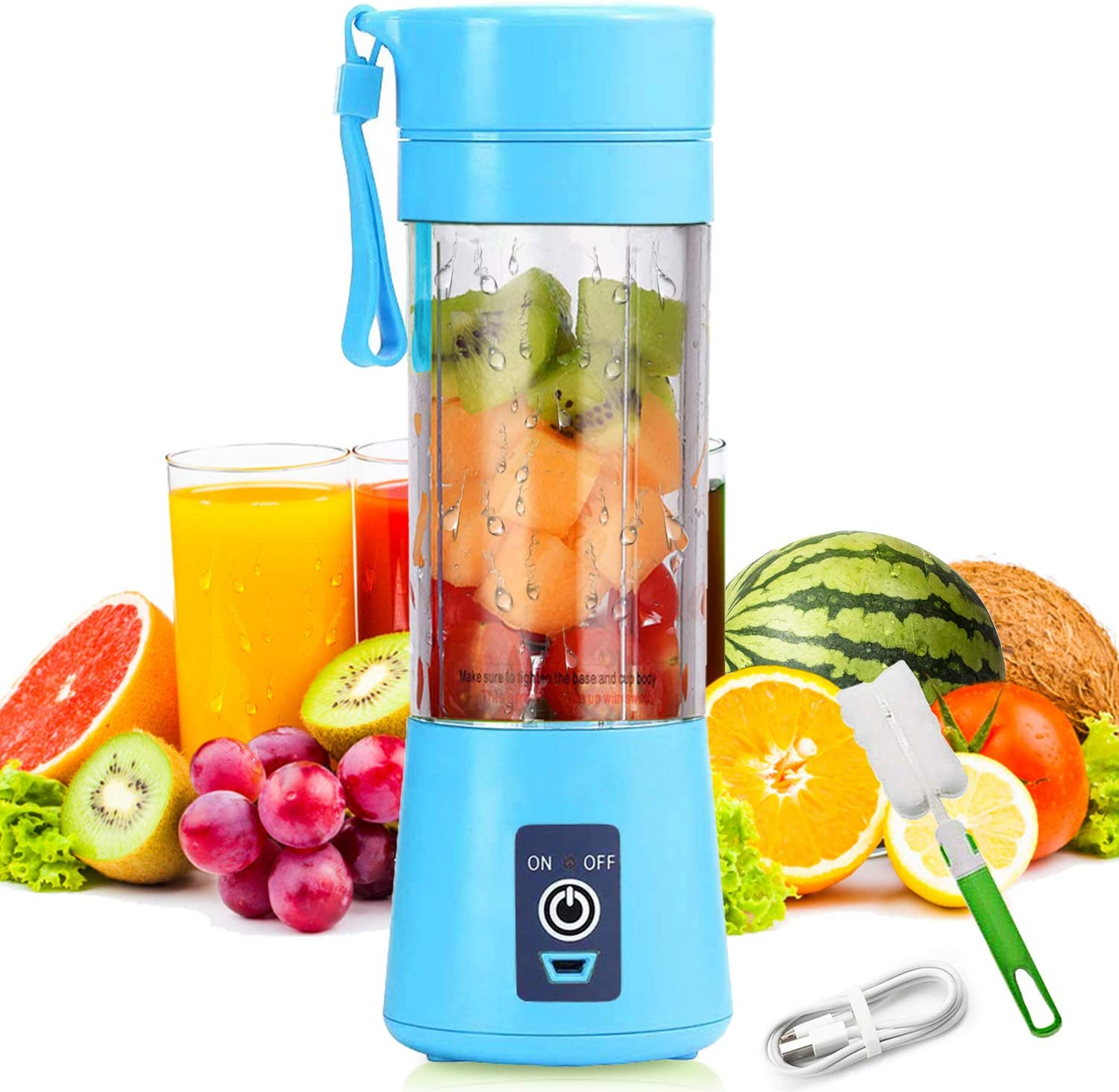 Portable Electric Automatic Juicer, Personal Size Blender Shakes and Smoothies Juicer Cup-Six Blades in 3D,Handheld Fruit Machine -Blue