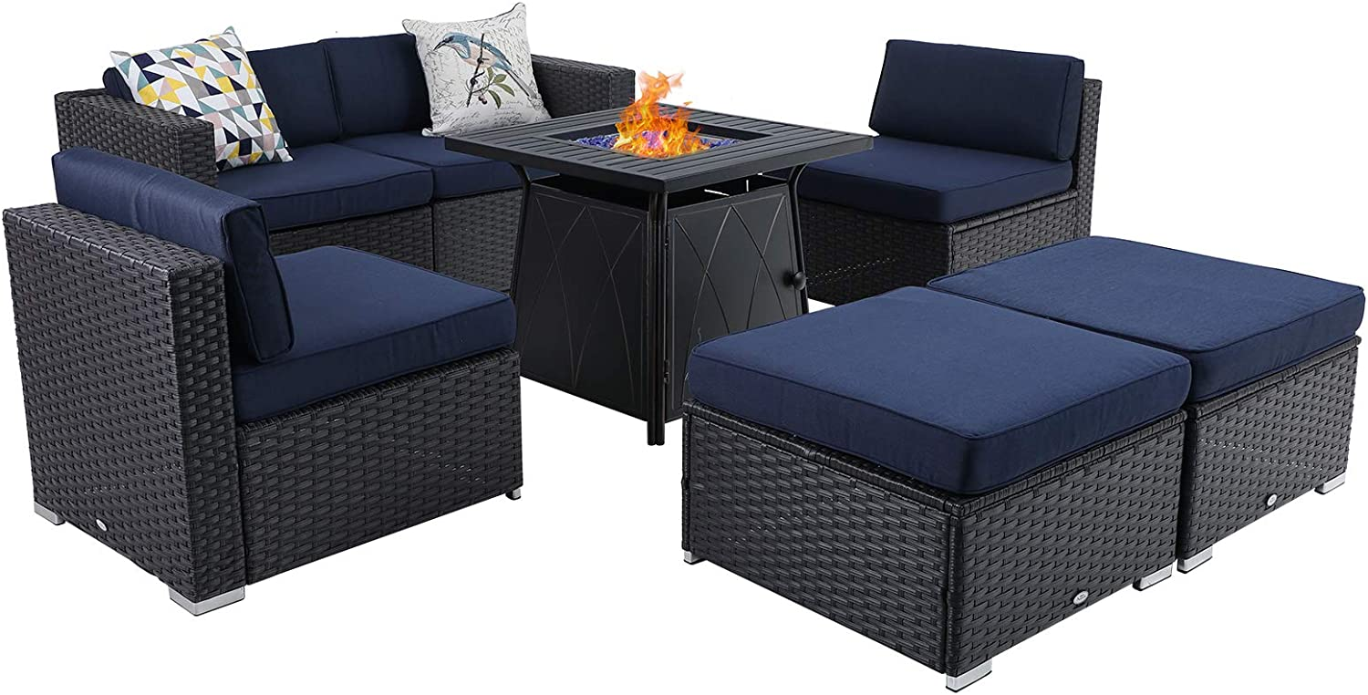 Sophia & William Patio Furniture Sectional Sofa Set with Gas Fire Pit Table 7 Piece Wicker Rattan Outdoor Conversation Sets W/Coffee Table, CSA Approved Propane Fire Pit (Navy Blue-Square Table)
