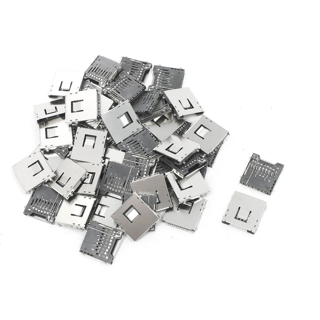 uxcell 50Pcs Stainless Steel SD Memory Card Sockets Connectors 1'' x 1'' x 0.1''