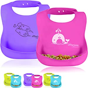 Platinum Silicone Bib - Waterproof Bibs with Wide Food Catching Pocket – Easy Clean – Mess Proof – Dishwasher Safe – Baby Bibs (2 Bib Pack - Pink Whales & Purple Otters)