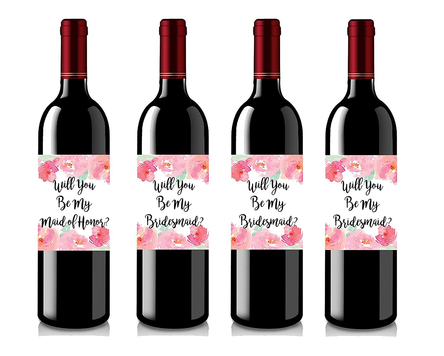 Set of 4 Wine Bottle Labels Will You Be My Bridesmaid Wine Labels Bridesmaid Gifts Will You Be My Maid of Honor Maid of Honor Gift COMIN18JU035864