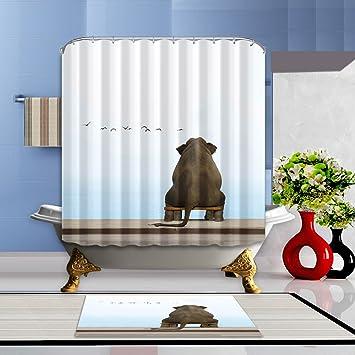 LB Elephant Shower Curtain 3D Digital Printing Bath Curtain 72x72 Inch  Bathroom Curtains Anti Bacterial Waterproof