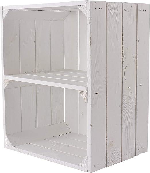 Kontorei® - Caja para fruta (también ideal para zapatos y CD, apilable, madera natural, color blanco: Amazon.es: Hogar
