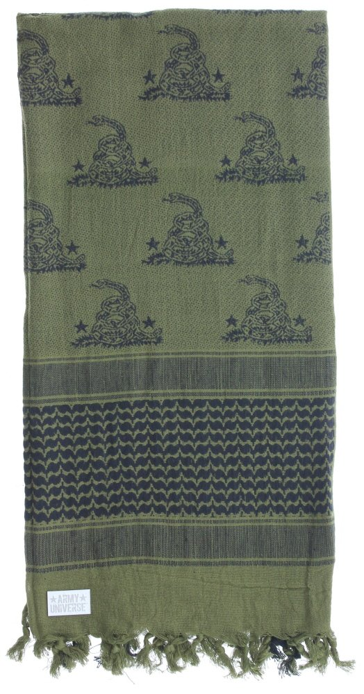 Premium Heavyweight Shemagh Scarf with ARMY UNIVERSE Pin - Gadsden Snake Olive Drab & Black