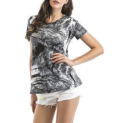 Été Femme T-Shirts Fashion Impression Tops Chemisiers Tunique Casual Col Rond Manches Courtes Haut Blouses Sweatshirts Pullover