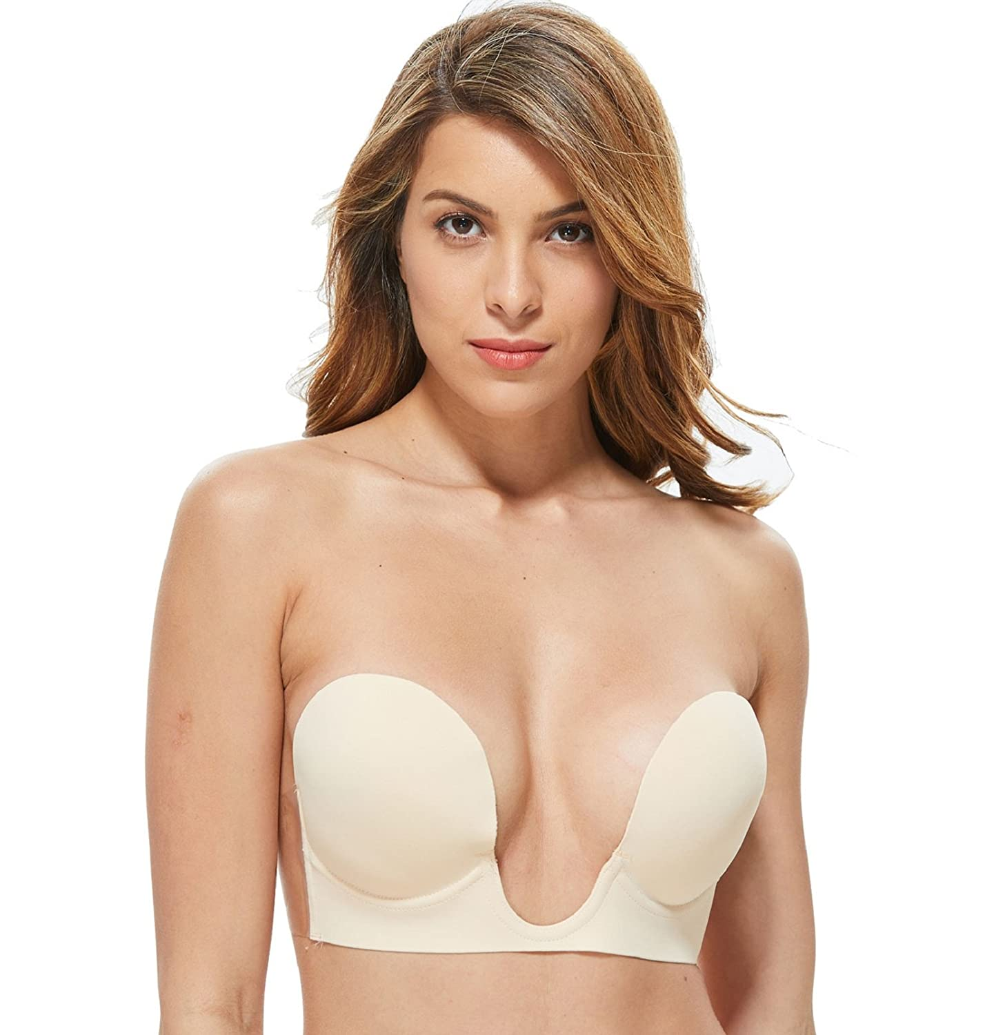 heekpek Strapless Bras Push up Women Self Adhesive Silicone Invisible Bra Resuable Seamless Backless Plunge Bra